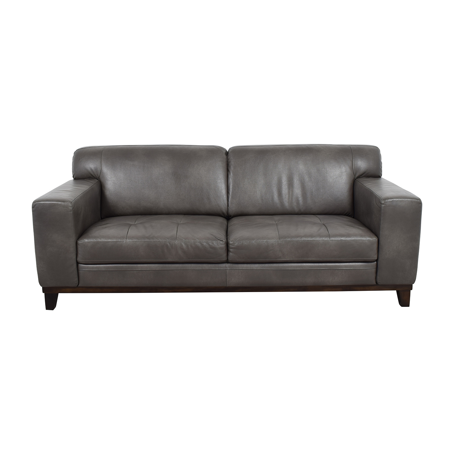 Raymour & Flanigan Grey Leather Couch / Classic Sofas