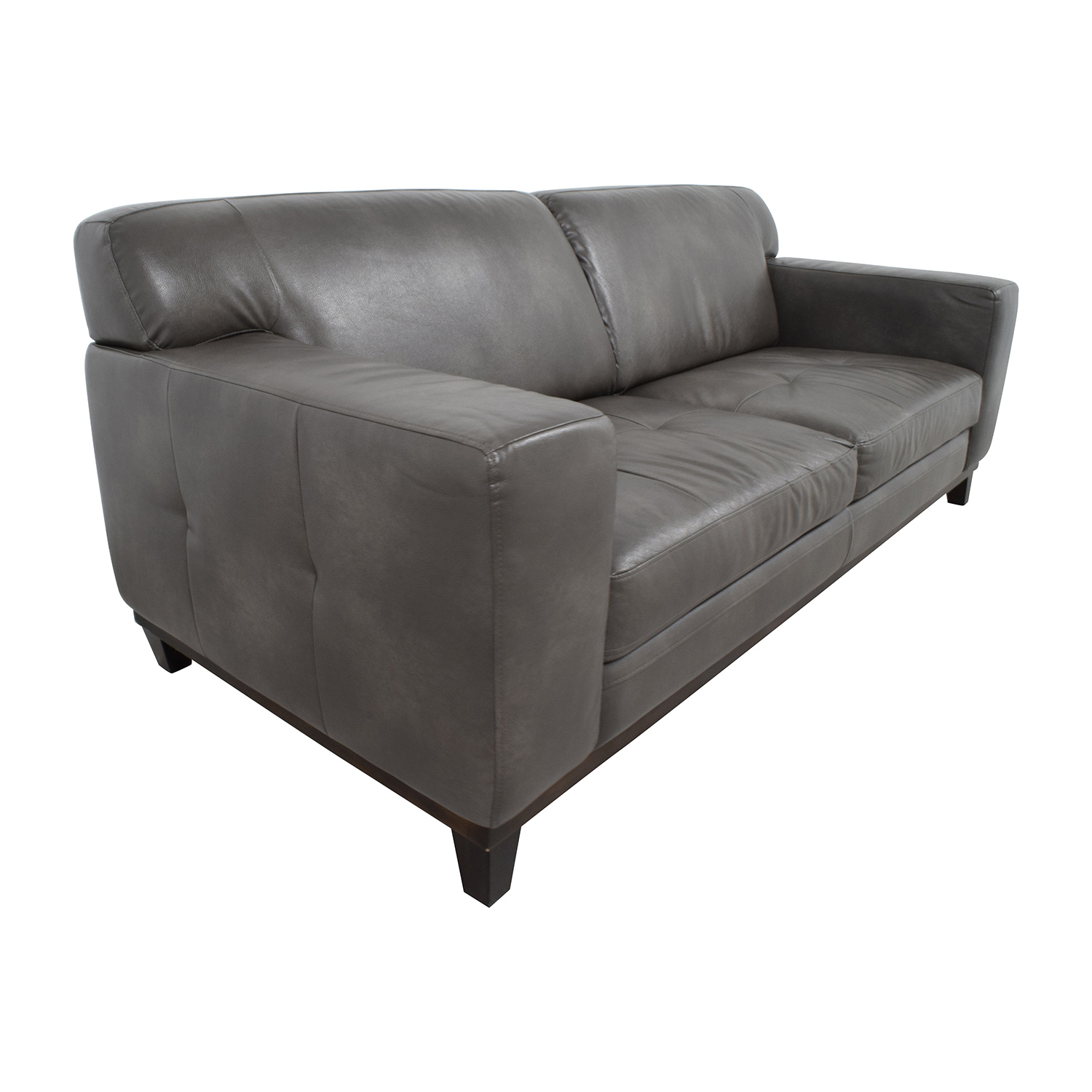 Raymour & Flanigan Raymour & Flanigan Grey Leather Couch dimensions