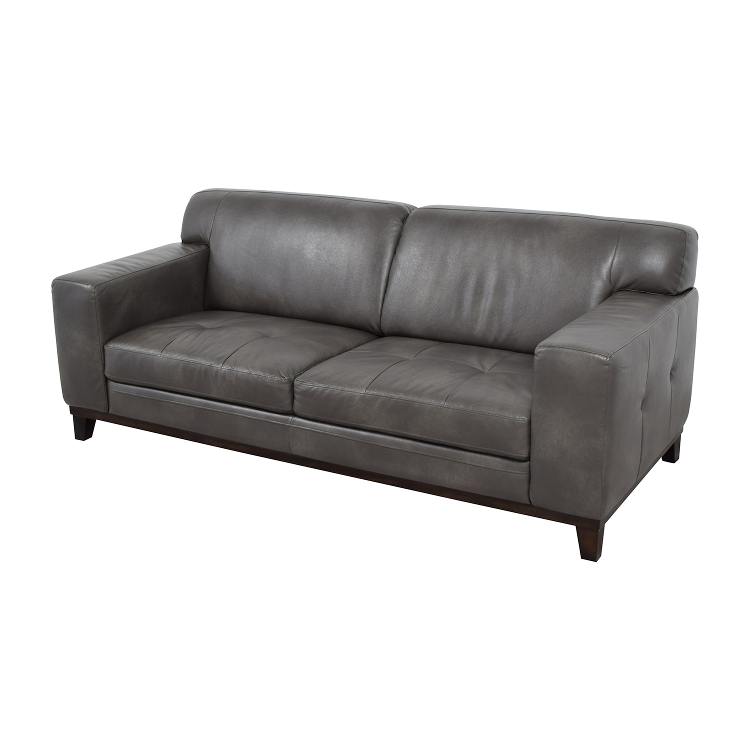 Raymour & Flanigan Raymour & Flanigan Grey Leather Couch for sale