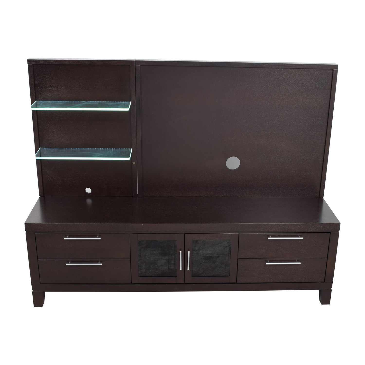 shop Raymour and Flanigan Entertainment Center with Open Glass Shelves Raymour and Flanigan Storage