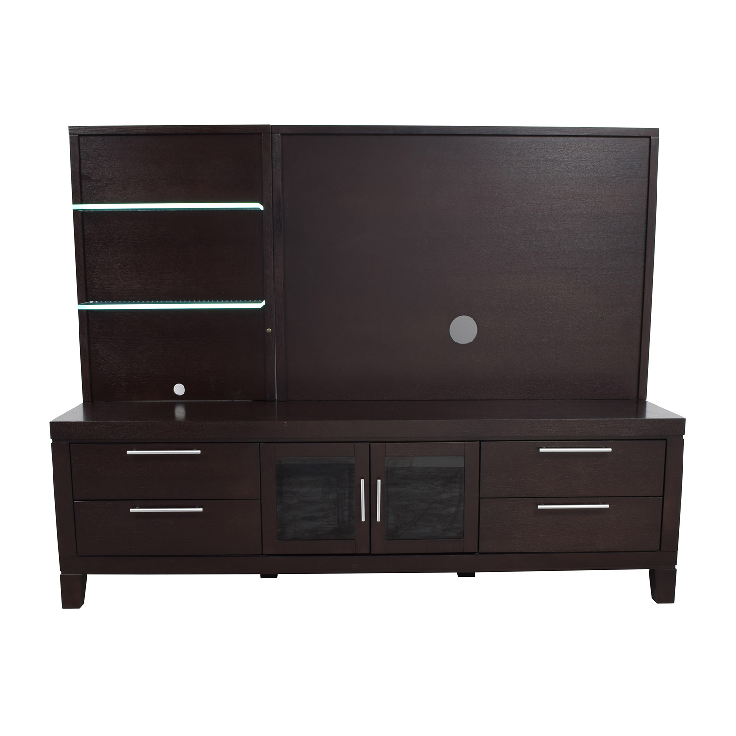 Raymour and Flanigan Raymour and Flanigan Entertainment Center with Open Glass Shelves Storage