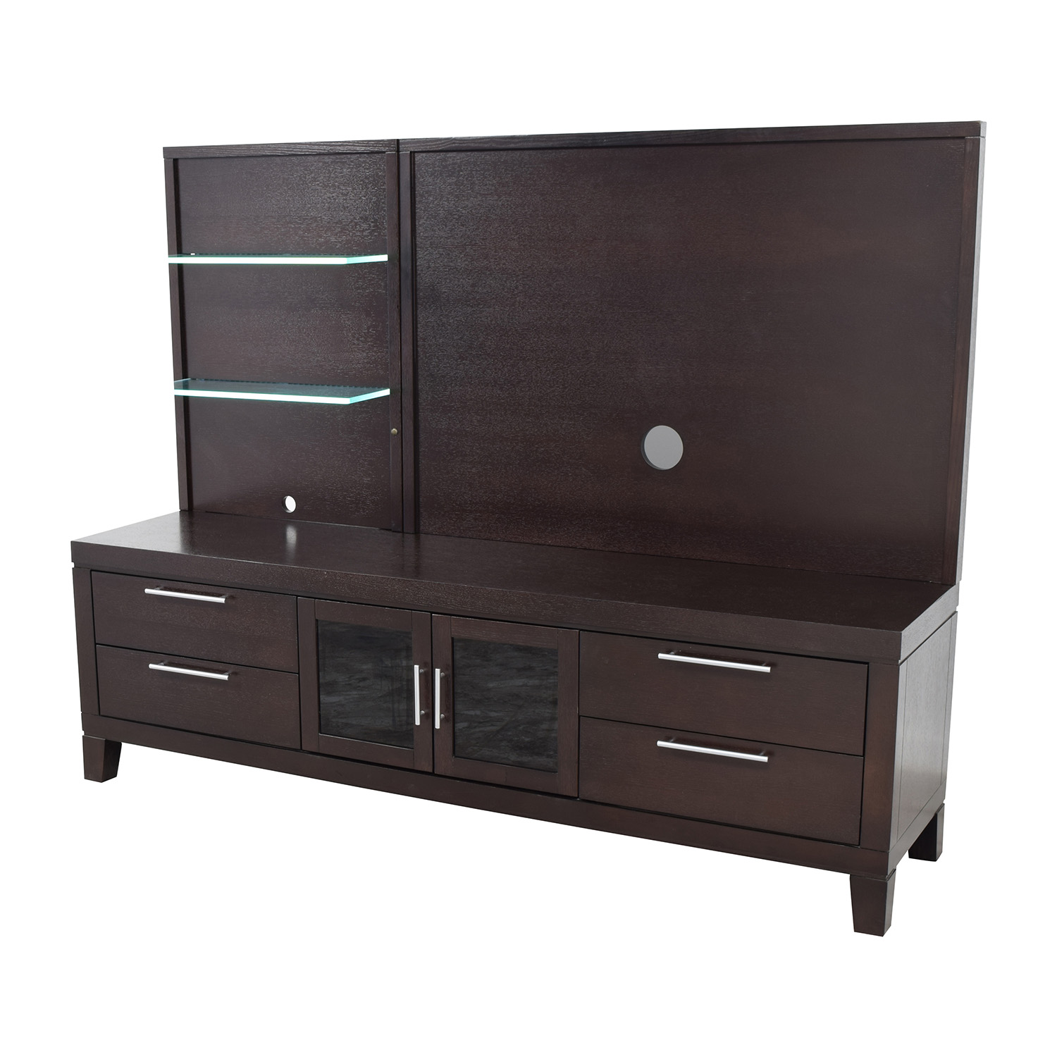 shop Raymour and Flanigan Entertainment Center with Open Glass Shelves Raymour and Flanigan Media Units
