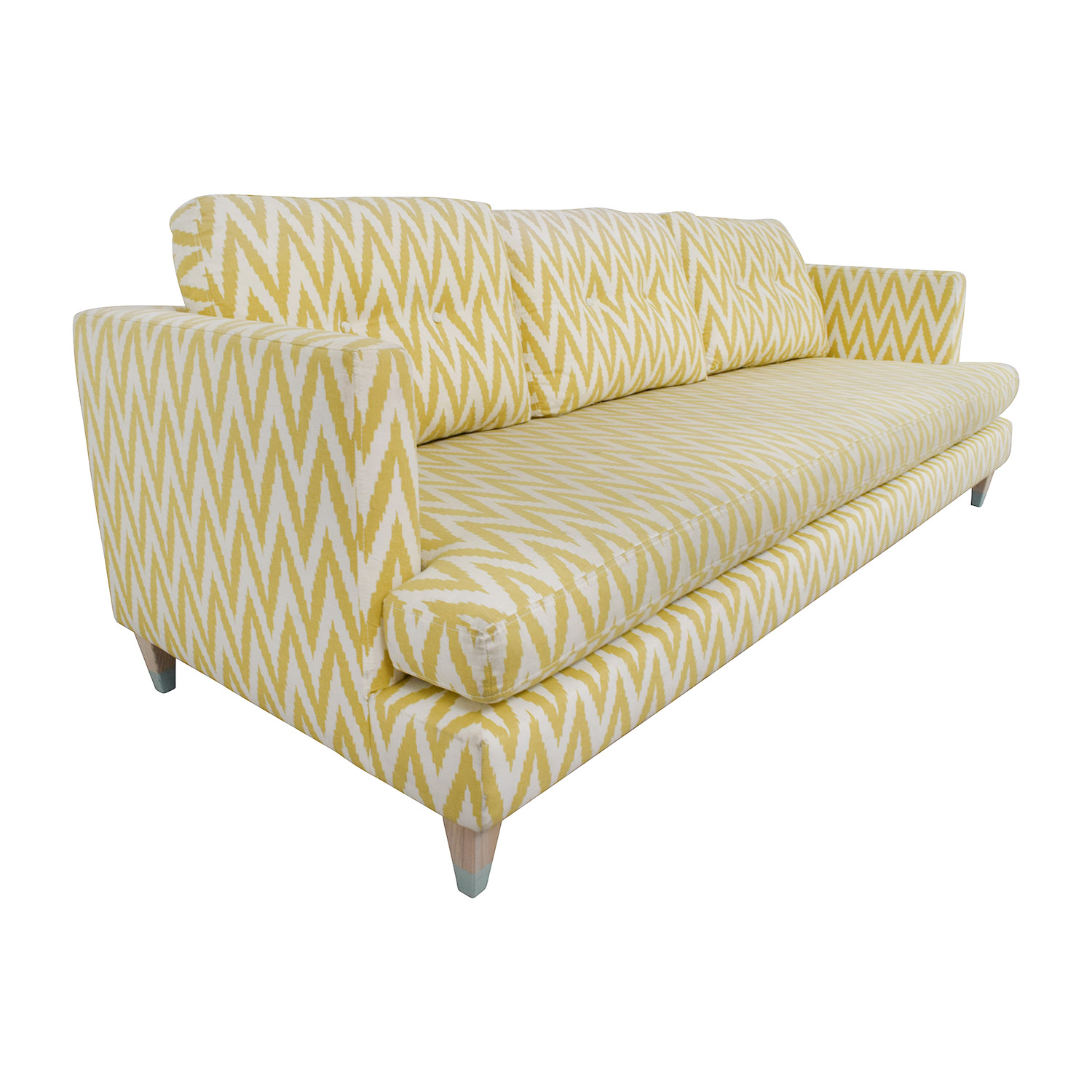 West Elm West Elm Yellow and White Single Cushion Sofa second hand