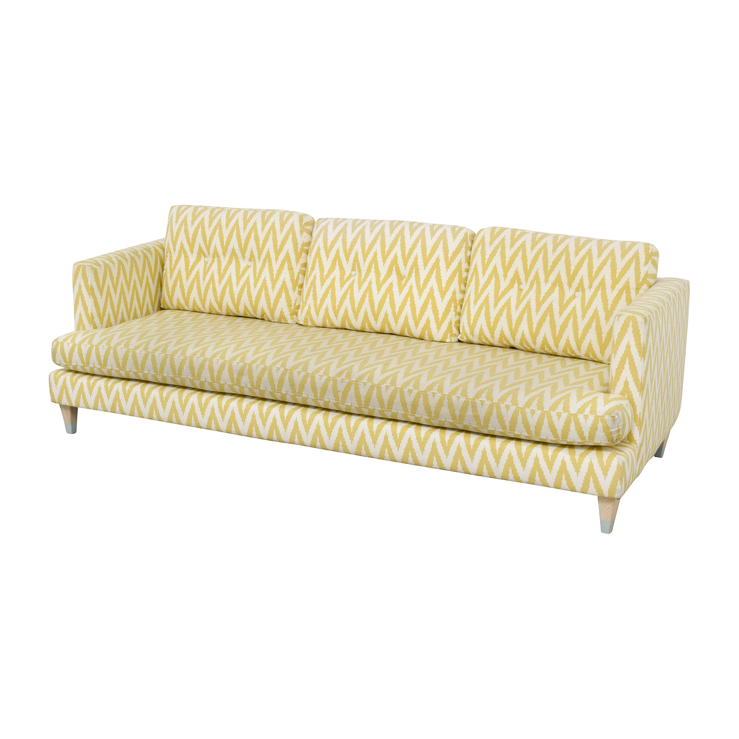 West Elm West Elm Yellow and White Single Cushion Sofa price