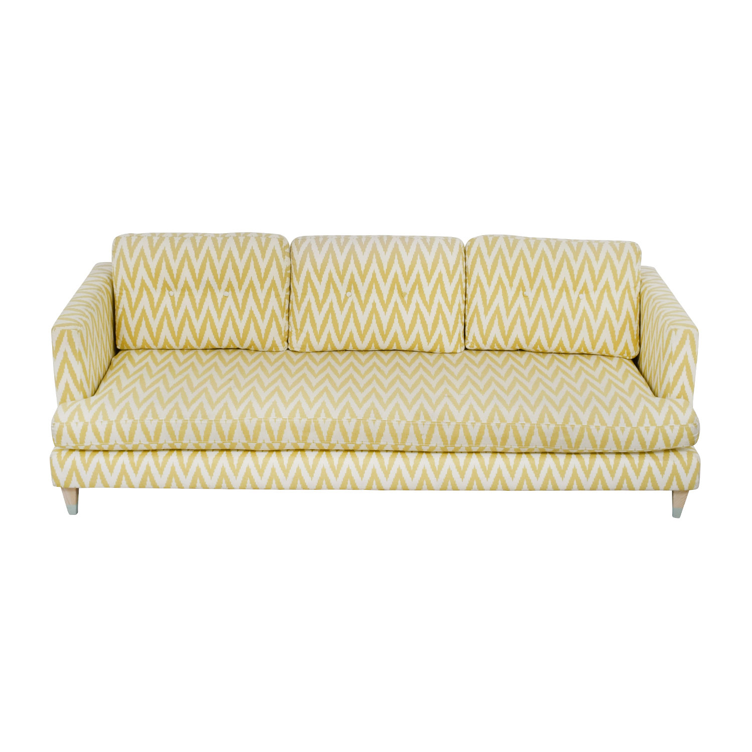 West Elm West Elm Yellow and White Single Cushion Sofa Yellow