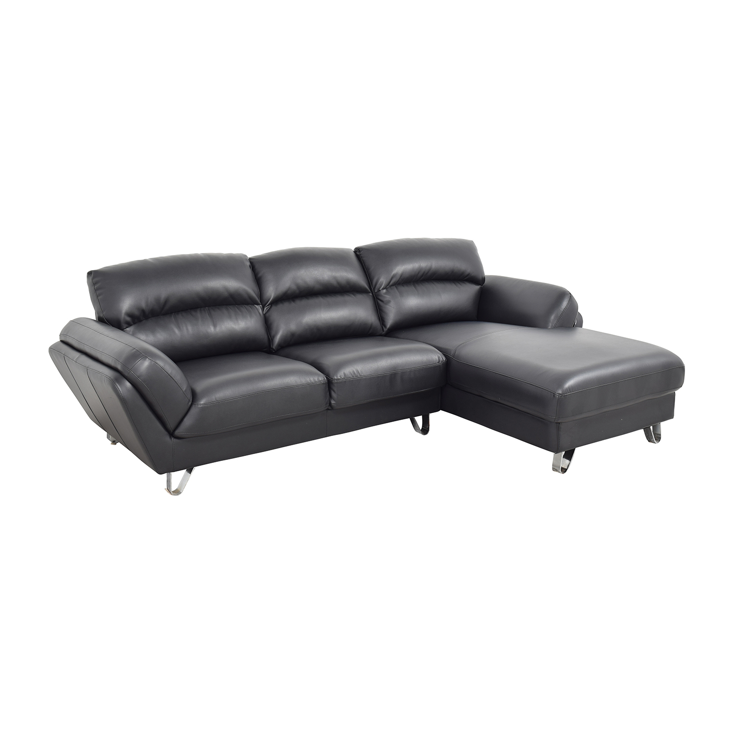 51% OFF Contemporary Faux Leather Two piece Sectional Sofa Sofas