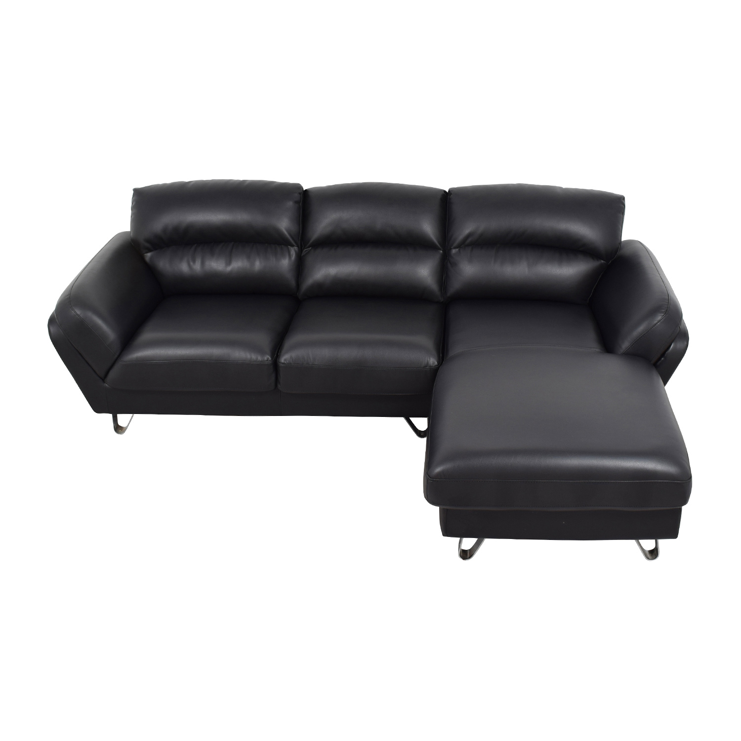 shop Contemporary Faux Leather Two-piece Sectional Sofa