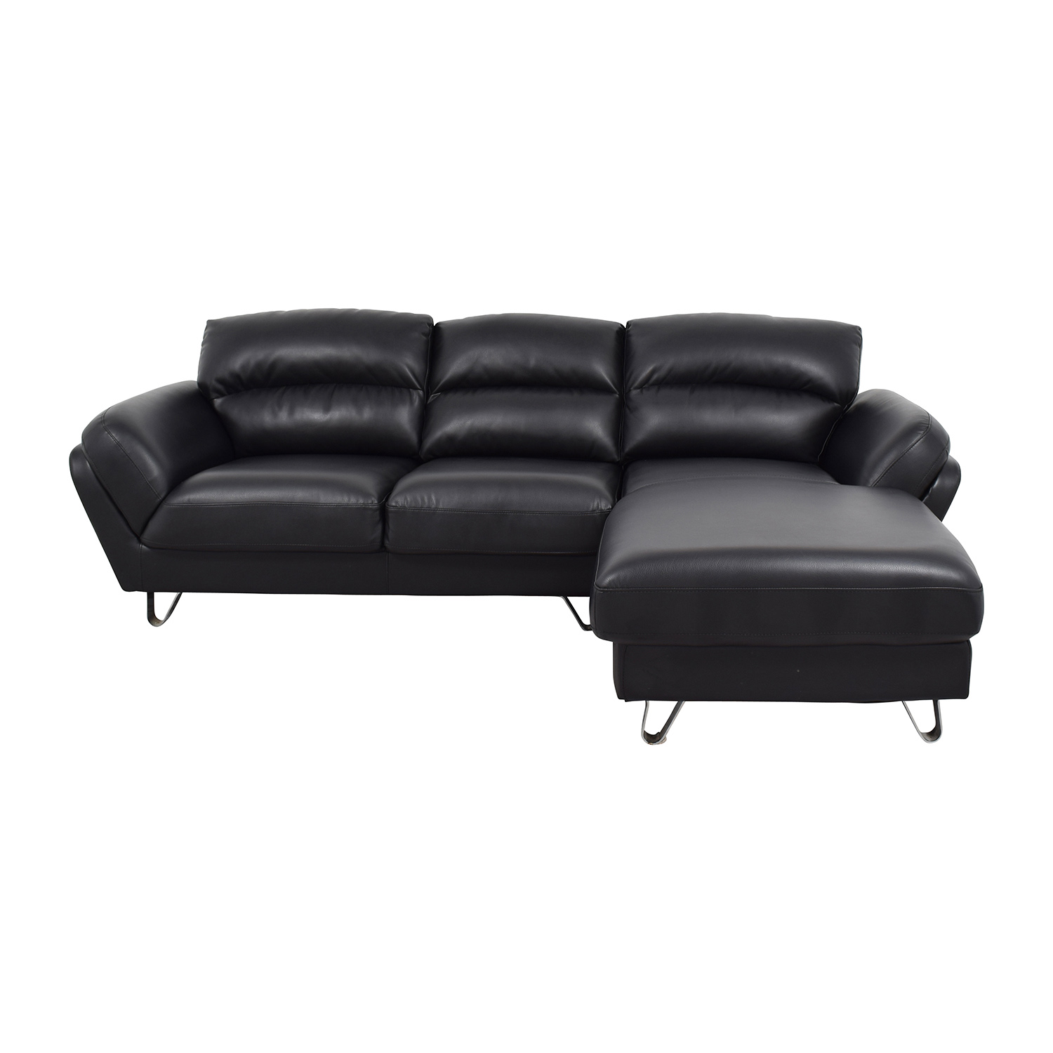 Contemporary Faux Leather Two-piece Sectional Sofa used