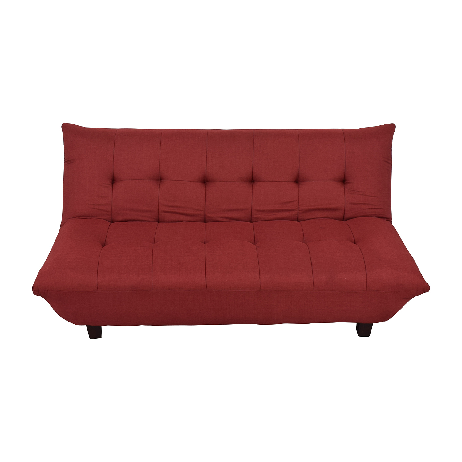 Red Tufted Futon Sofa Bed Red