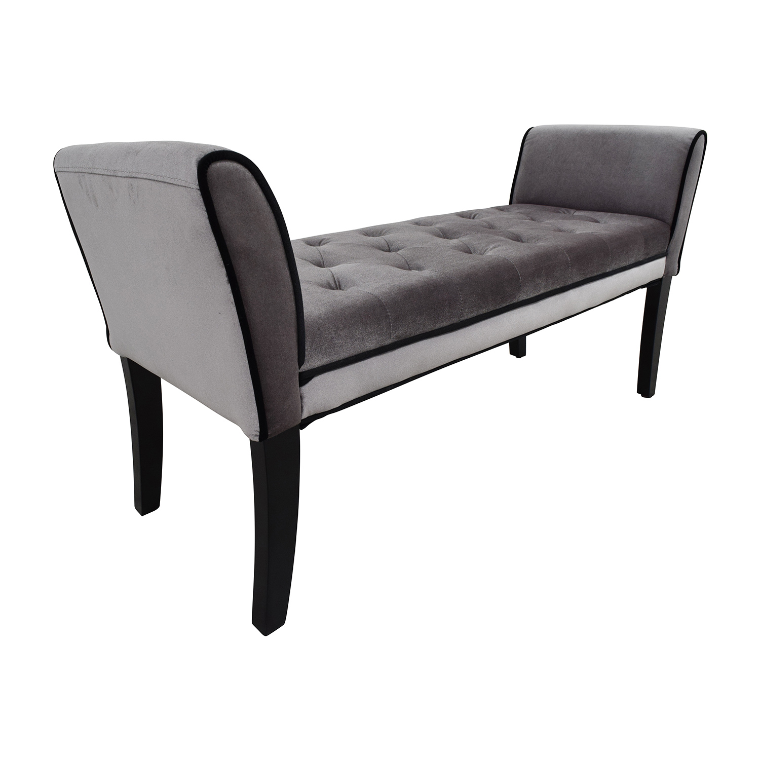 54 Off Inmod Inmod Grey Tufted Chatham Bench Chairs