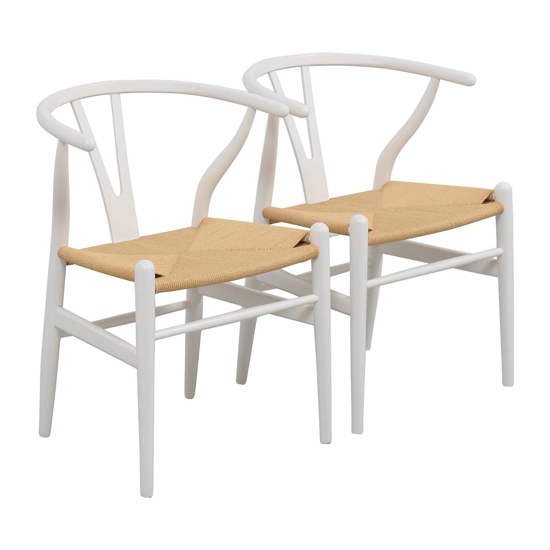 shop InMod Hans Wegner CH24 White Wishbone Chairs InMod Accent Chairs