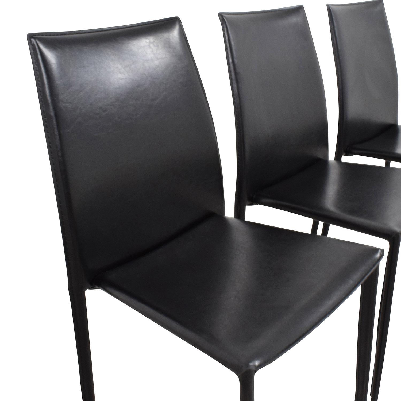 shop InMod Manta Black Leather Stacking Chairs InMod