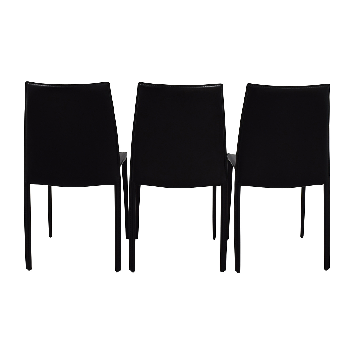 InMod InMod Manta Black Leather Stacking Chairs Stools