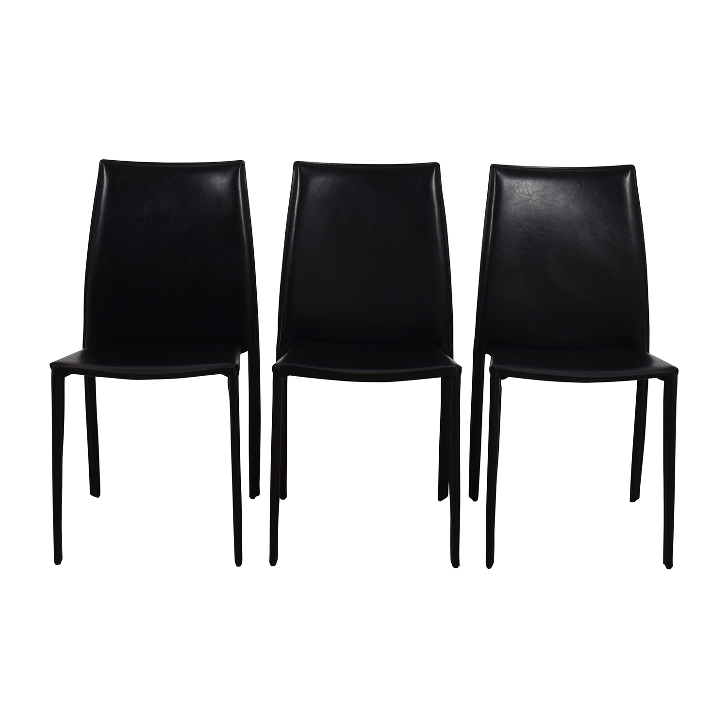 InMod InMod Manta Black Leather Stacking Chairs for sale