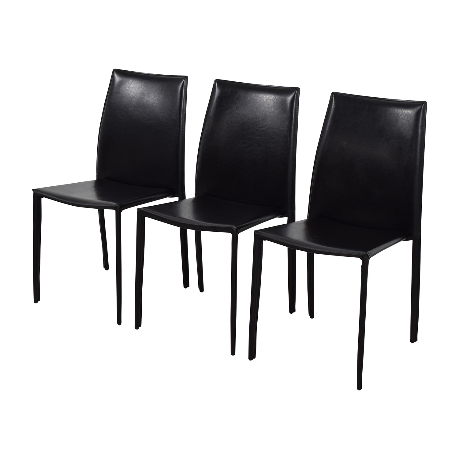 InMod InMod Manta Black Leather Stacking Chairs on sale