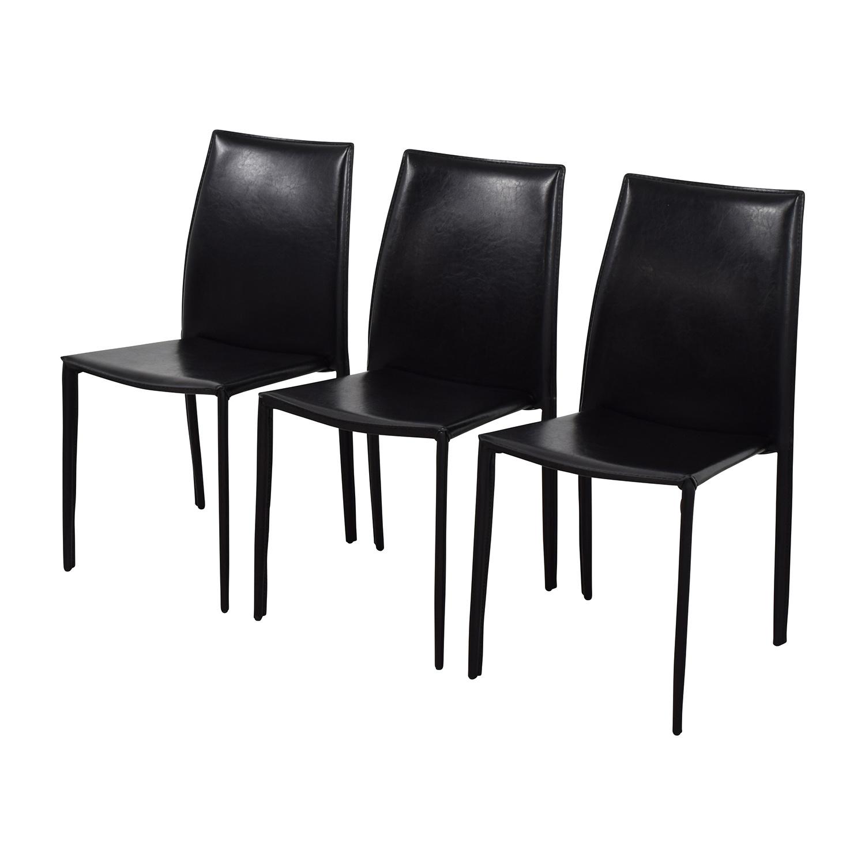 ... InMod InMod Manta Black Leather Stacking Chairs Stools ...