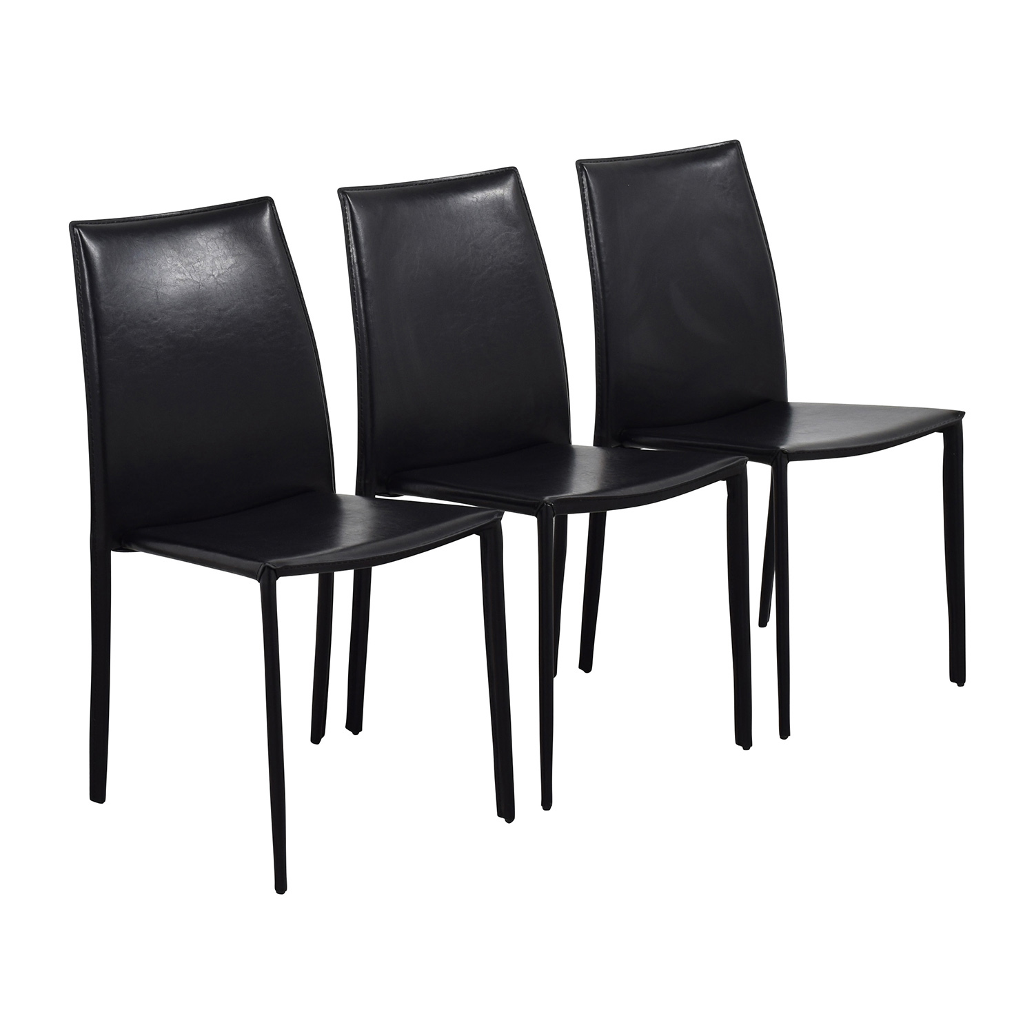 87 off inmod inmod manta black leather stacking chairs for In mod furniture