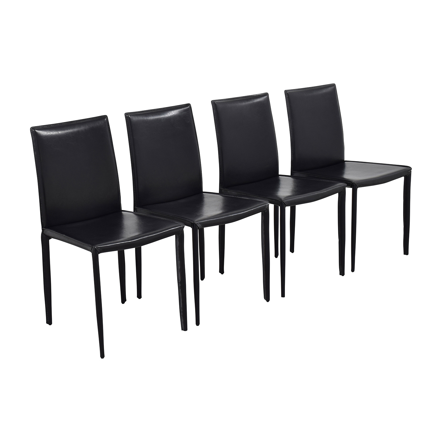 InMod InMod Mia Black Leather Chair Dining Chairs