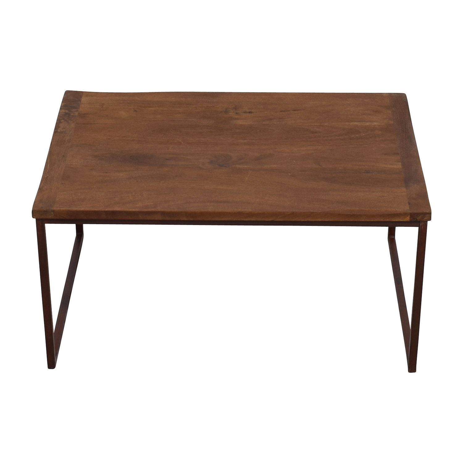 shop Pottery Barn Wood and Metal Rectangle Coffee Table Pottery Barn