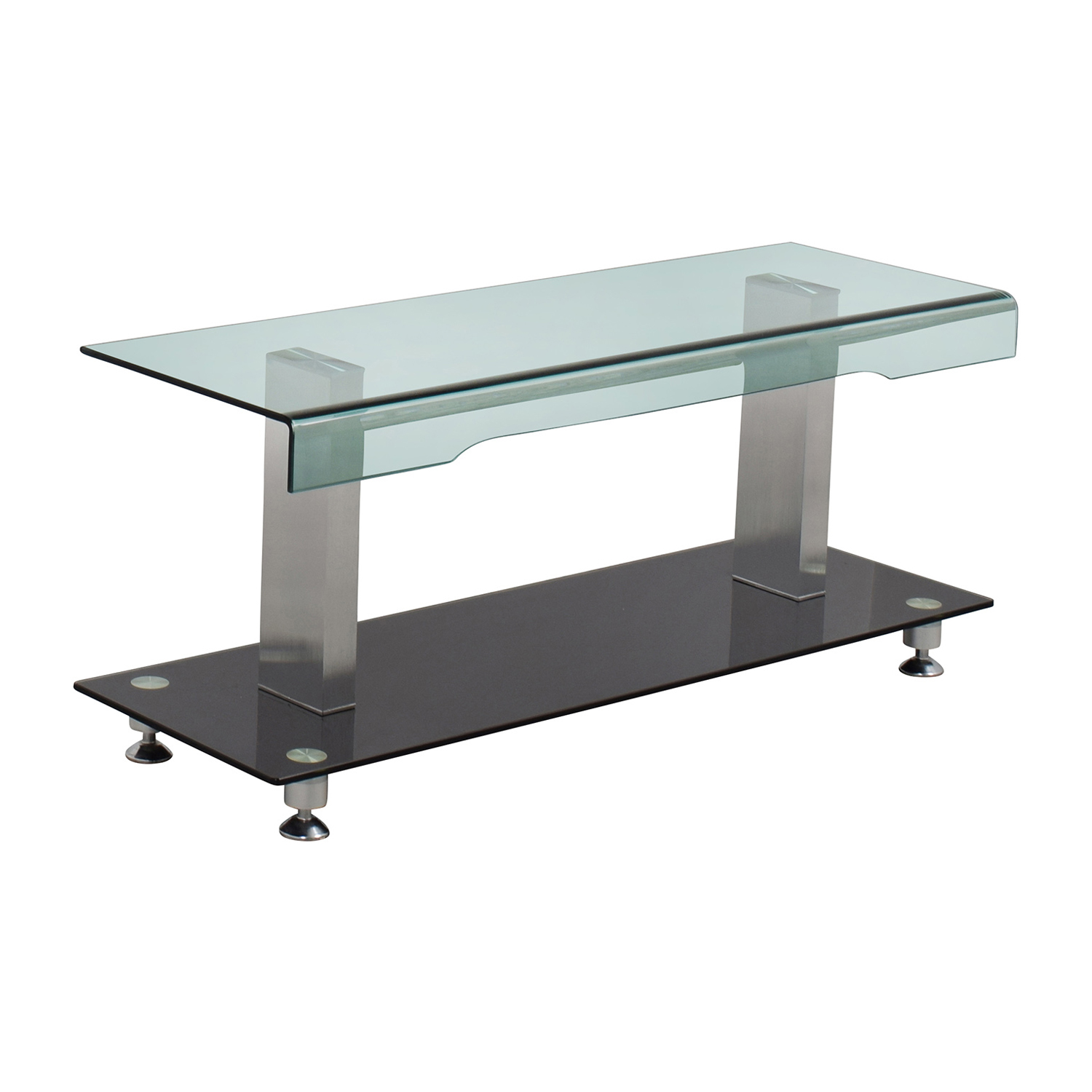 Glass Chrome and Black Media TV Stand second hand