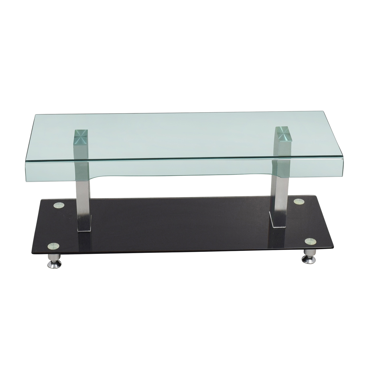85 Off Glass Chrome And Black Media Tv Stand Storage