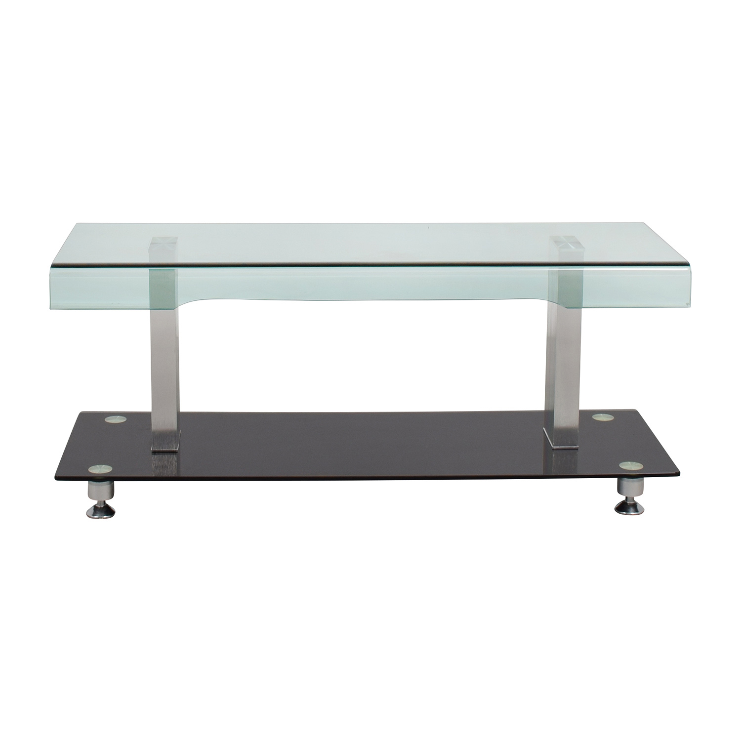 buy Glass Chrome and Black Media TV Stand