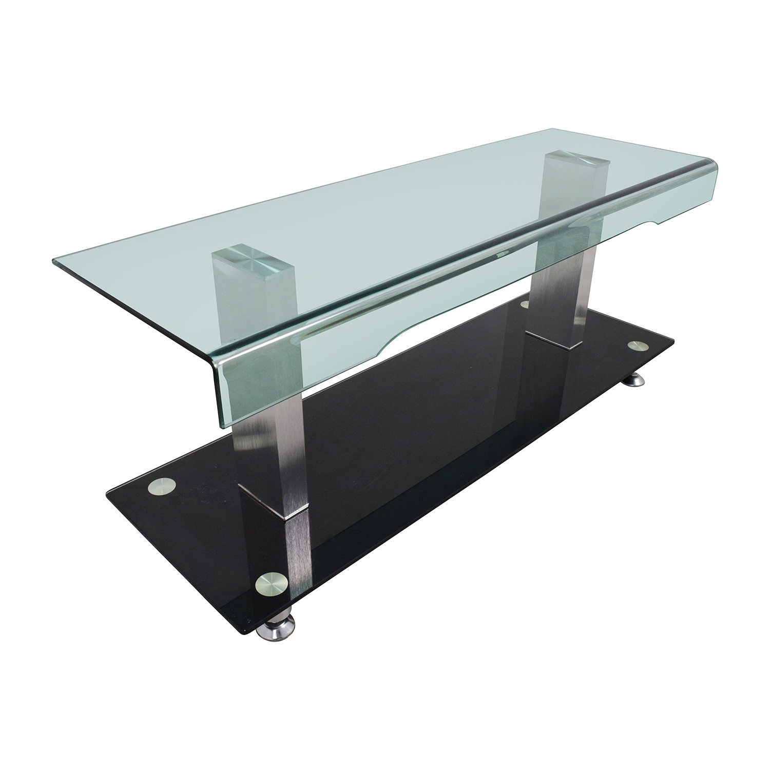 Glass Chrome and Black Media TV Stand coupon