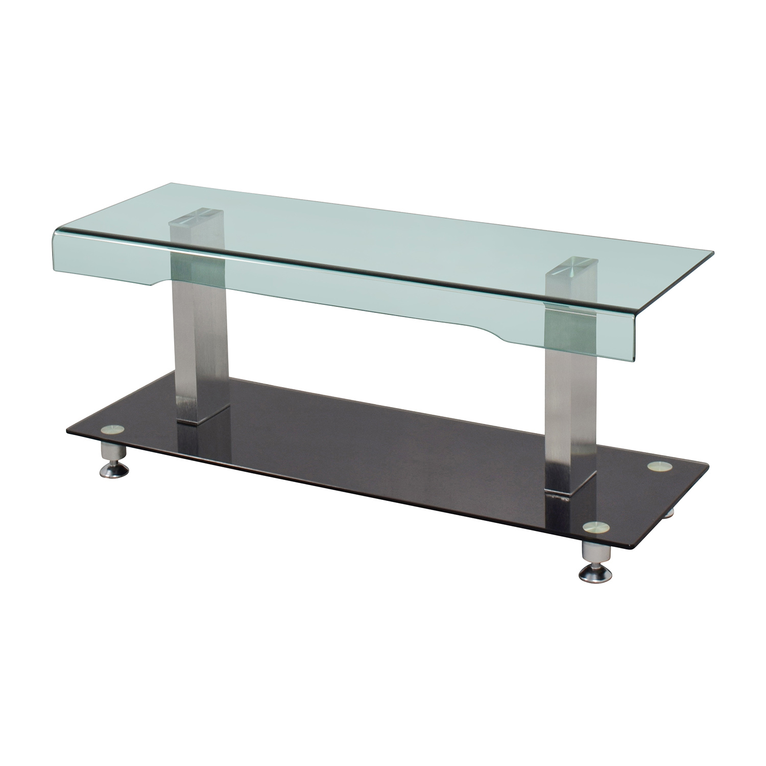 Glass Chrome and Black Media TV Stand nyc