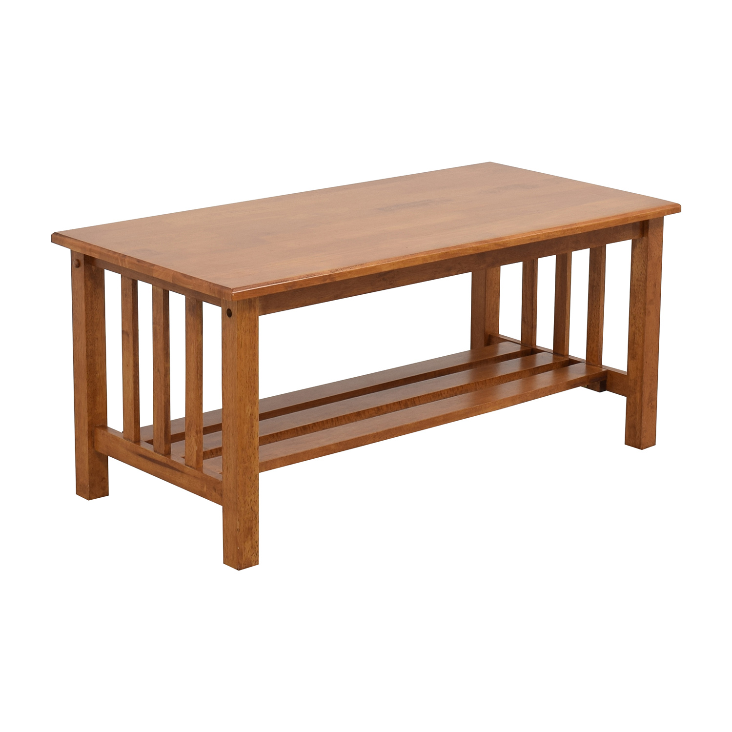 Light Brown Coffee Table with Bottom Shelf / Coffee Tables
