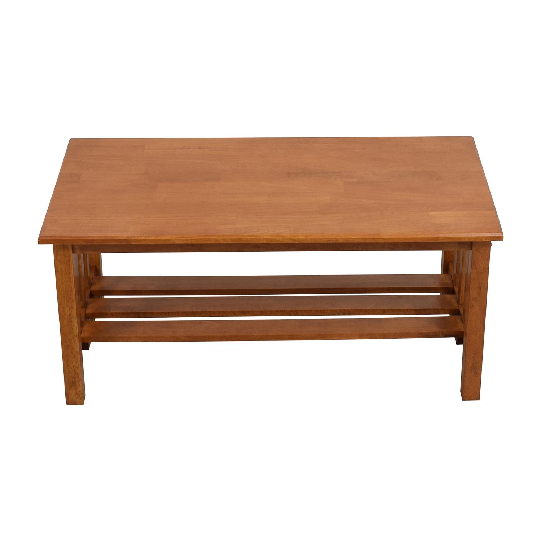shop Light Brown Coffee Table with Bottom Shelf