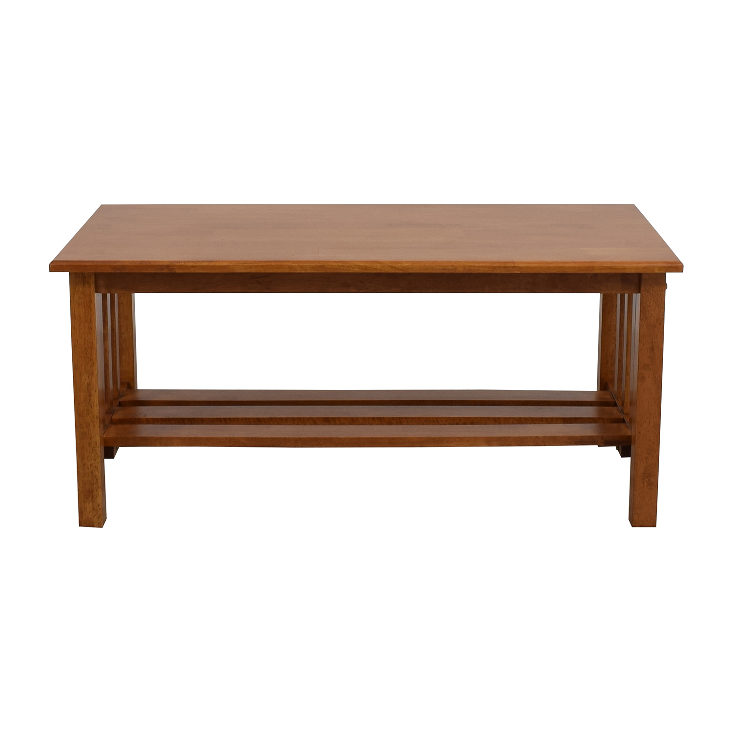 56% OFF Light Brown Coffee Table with Bottom Shelf Tables