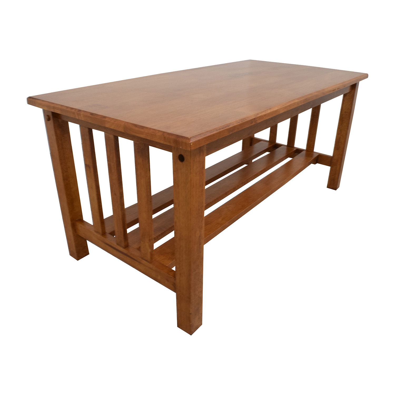Light Brown Coffee Table with Bottom Shelf on sale