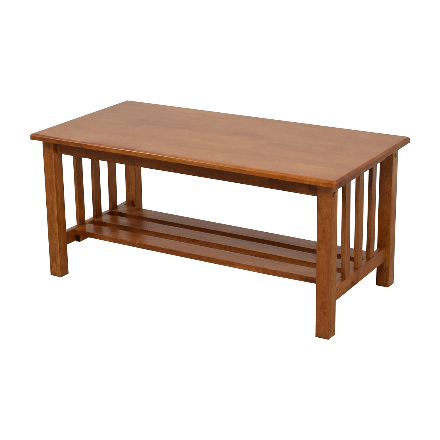 Light Brown Coffee Table with Bottom Shelf Coffee Tables