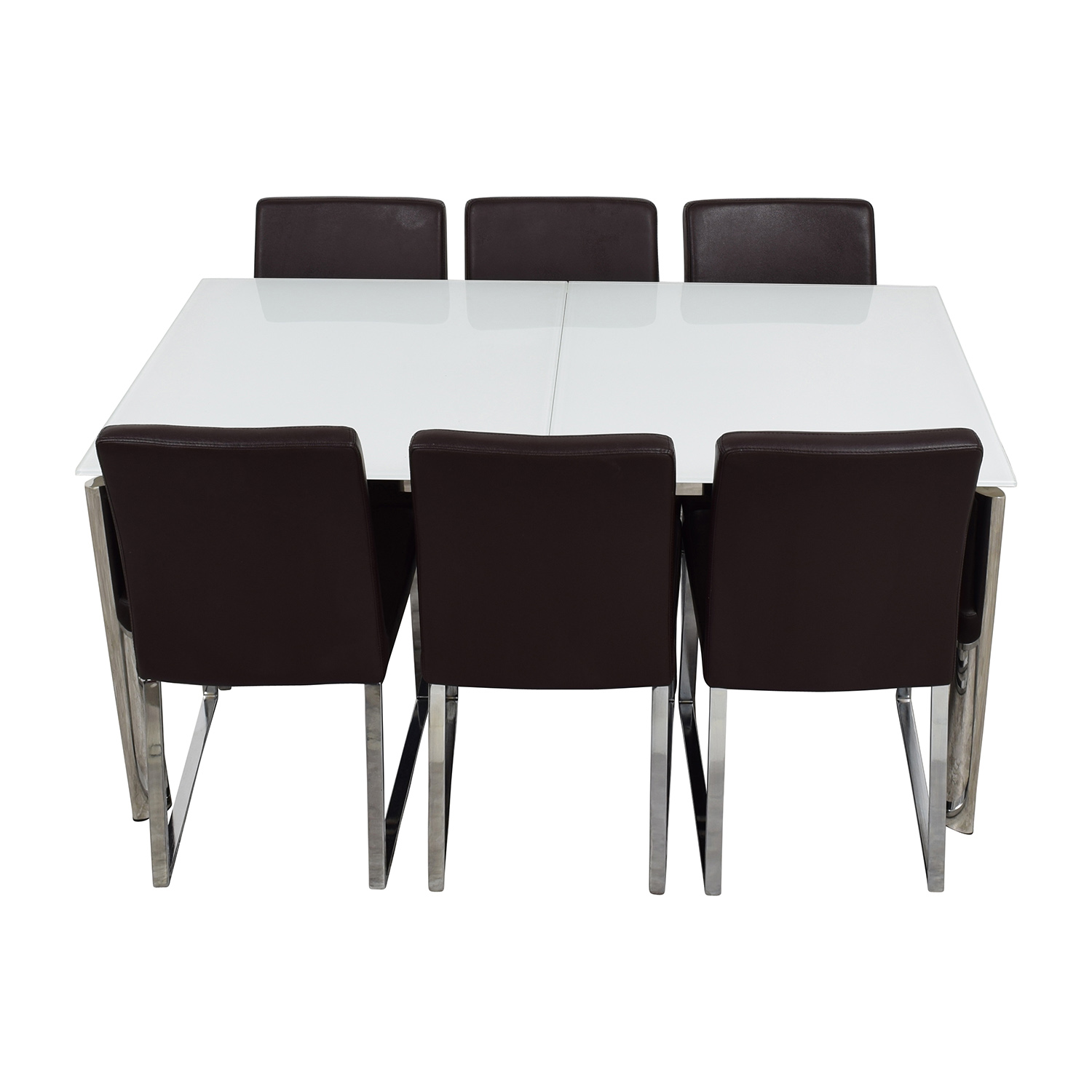 Modani Modani Cameron White Glass Extendable Dining Table with Six Niero Chairs on sale