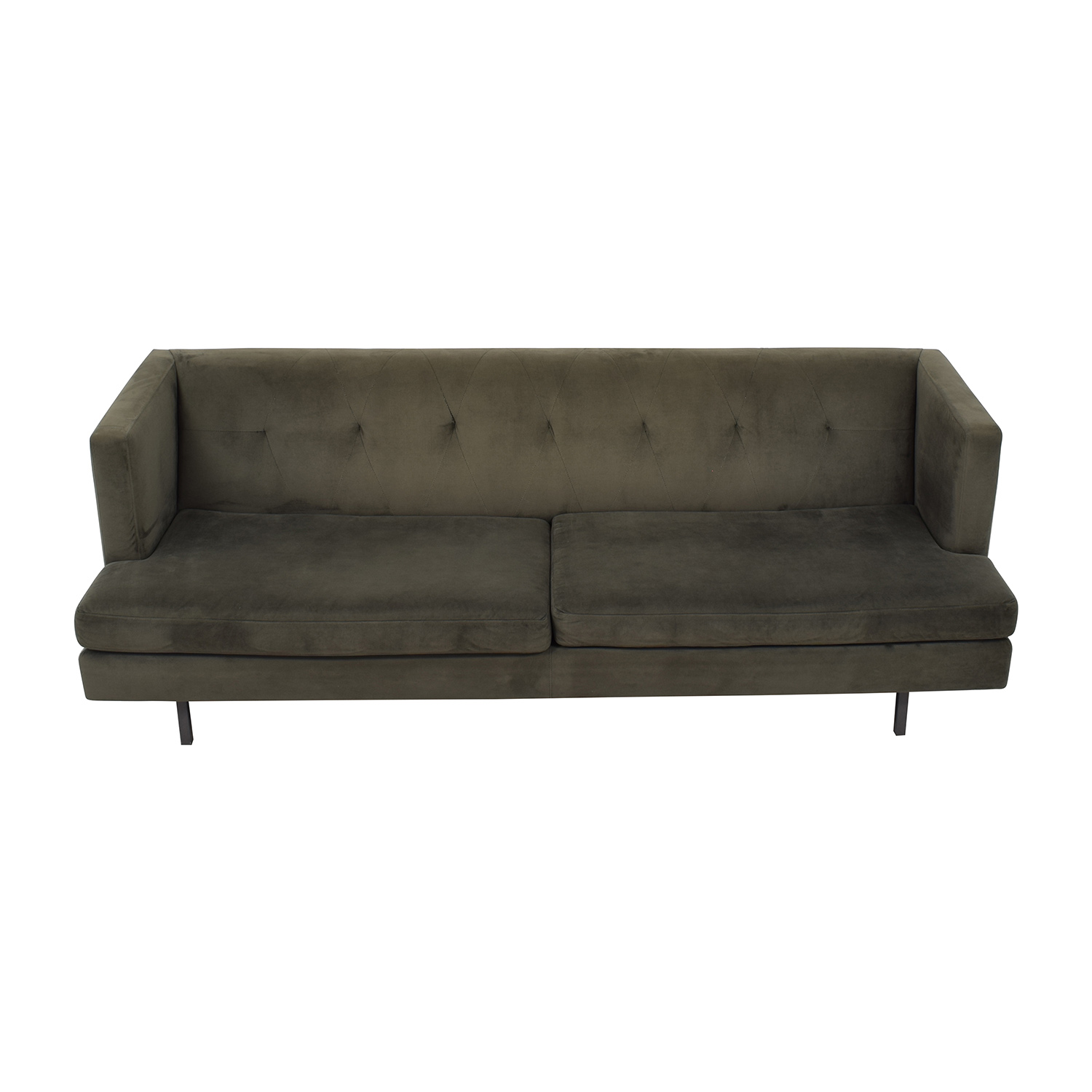 CB2 Avec Grey Sofa with Brushed Stainless Steel Legs / Sofas