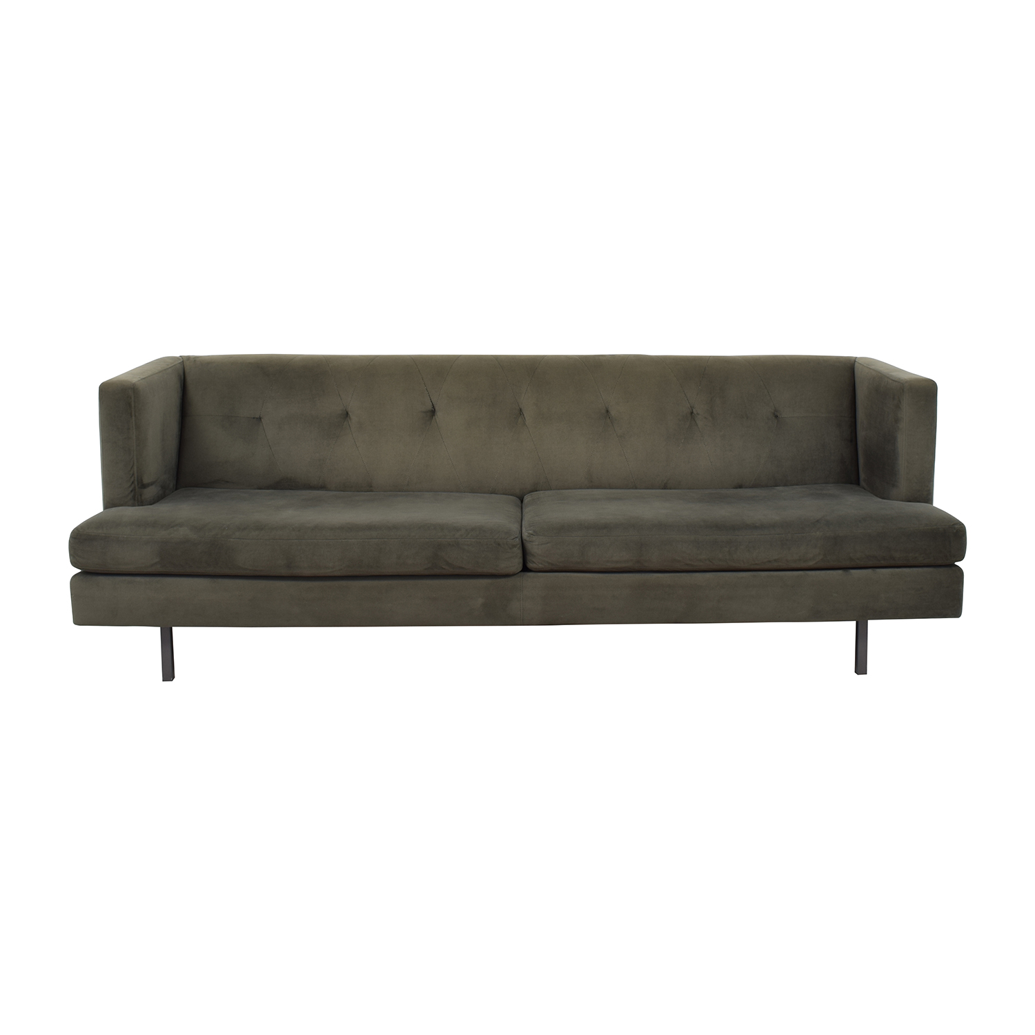 CB2 Avec Grey Sofa with Brushed Stainless Steel Legs / Classic Sofas
