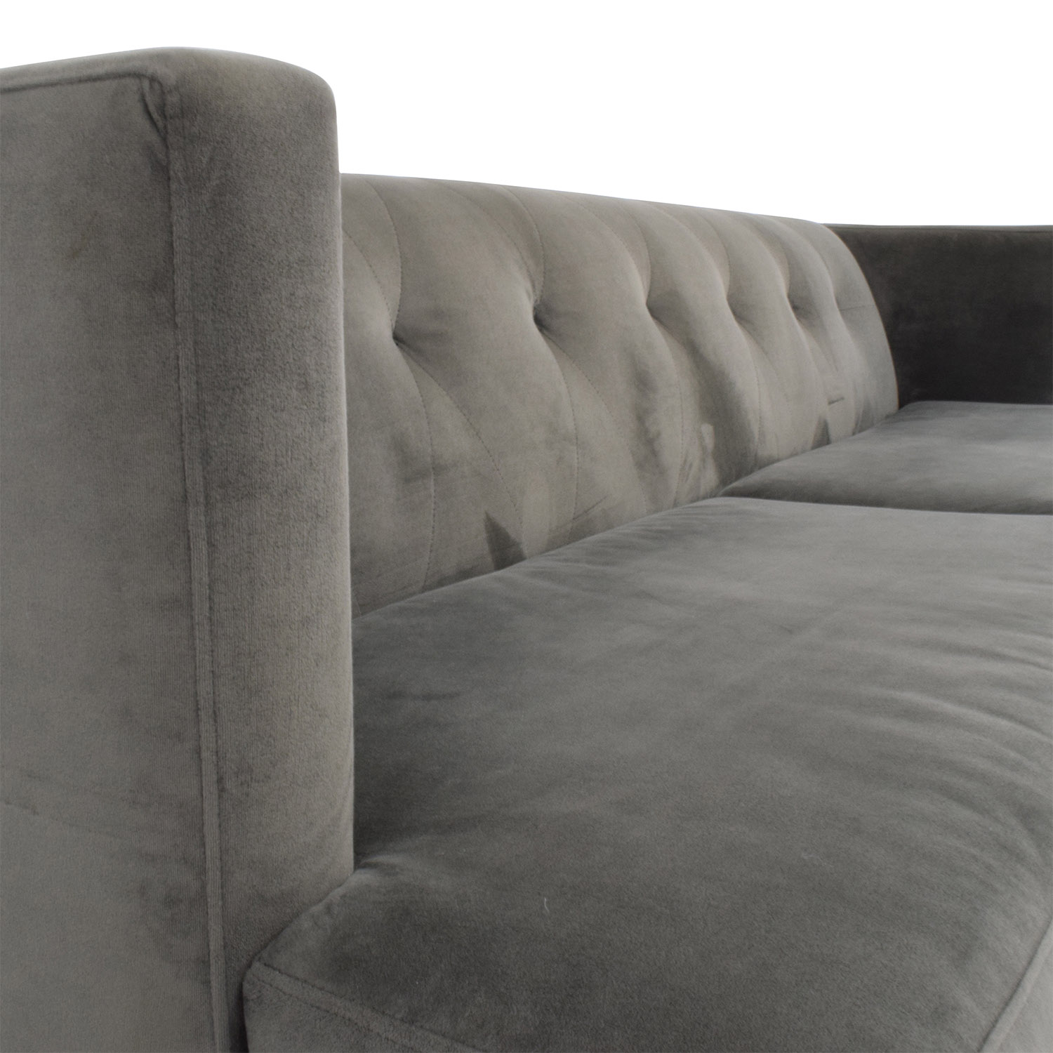 CB2 CB2 Avec Grey Sofa with Brushed Stainless Steel Legs coupon