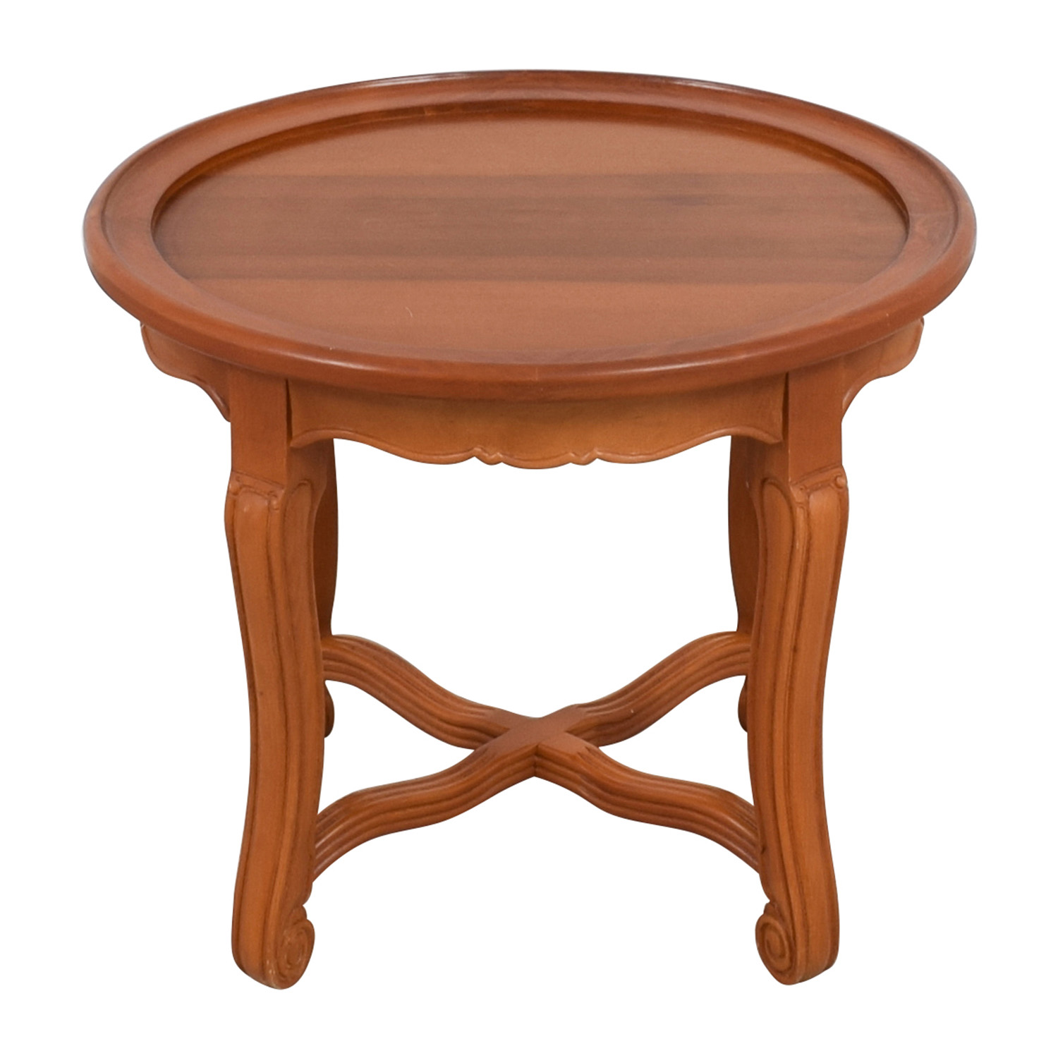 Round Antique Wood Side Table brown