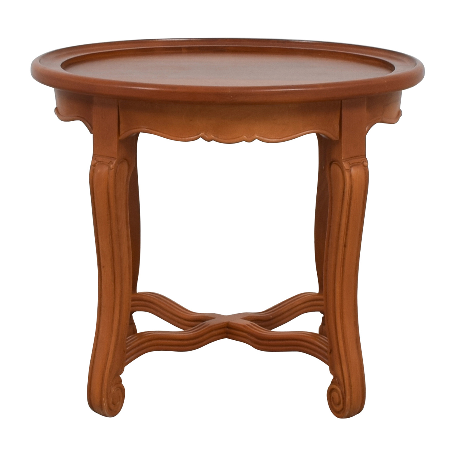 Round Antique Wood Side Table for sale