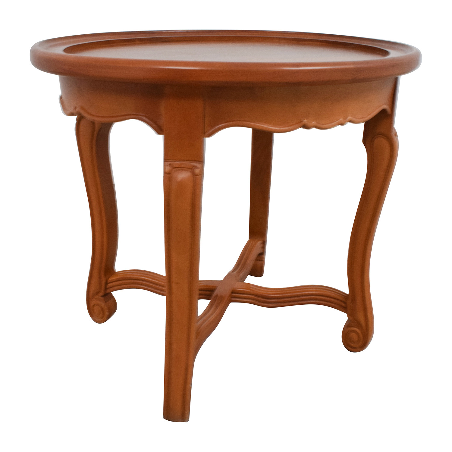 shop Round Antique Wood Side Table Tables