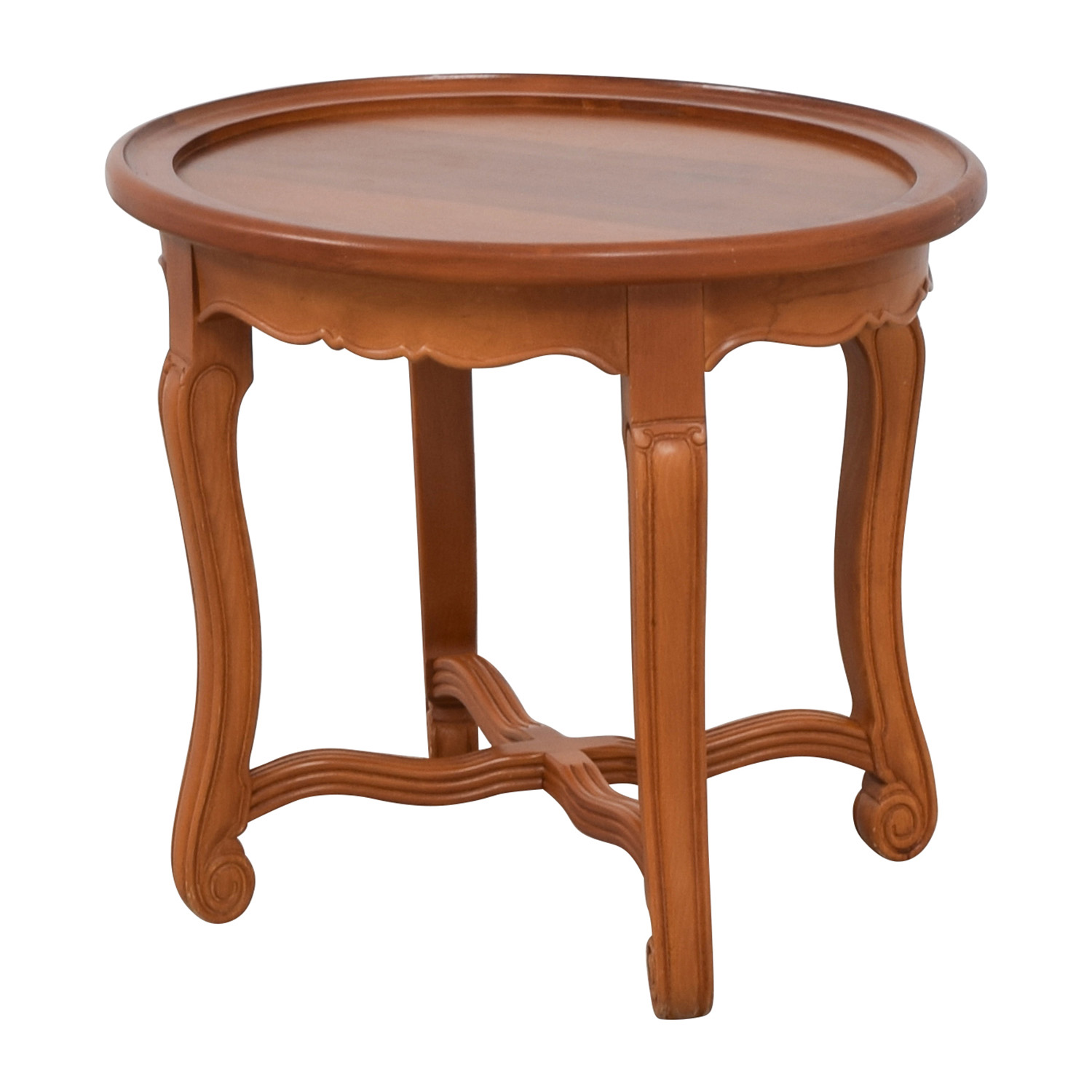 Round Antique Wood Side Table on sale