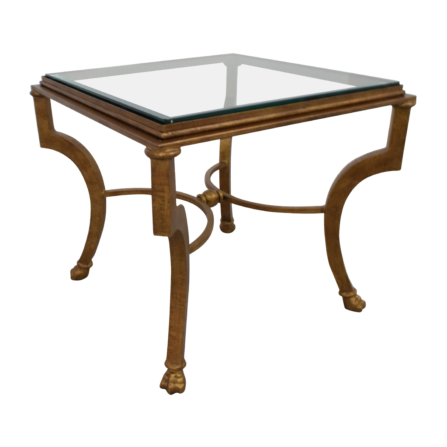 Square Antique Gold Side Table with Glass Top