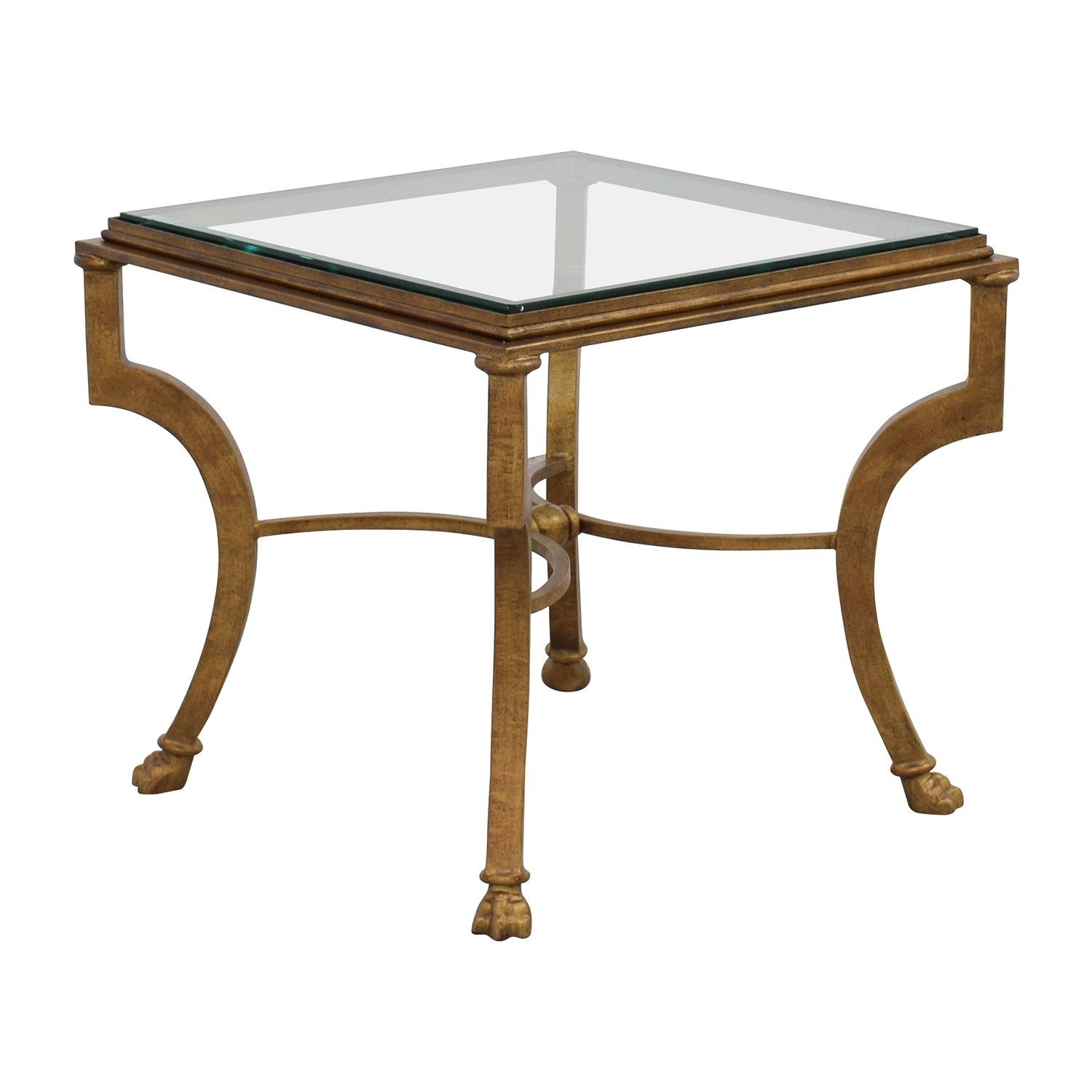 Square Antique Gold Side Table with Glass Top / Tables