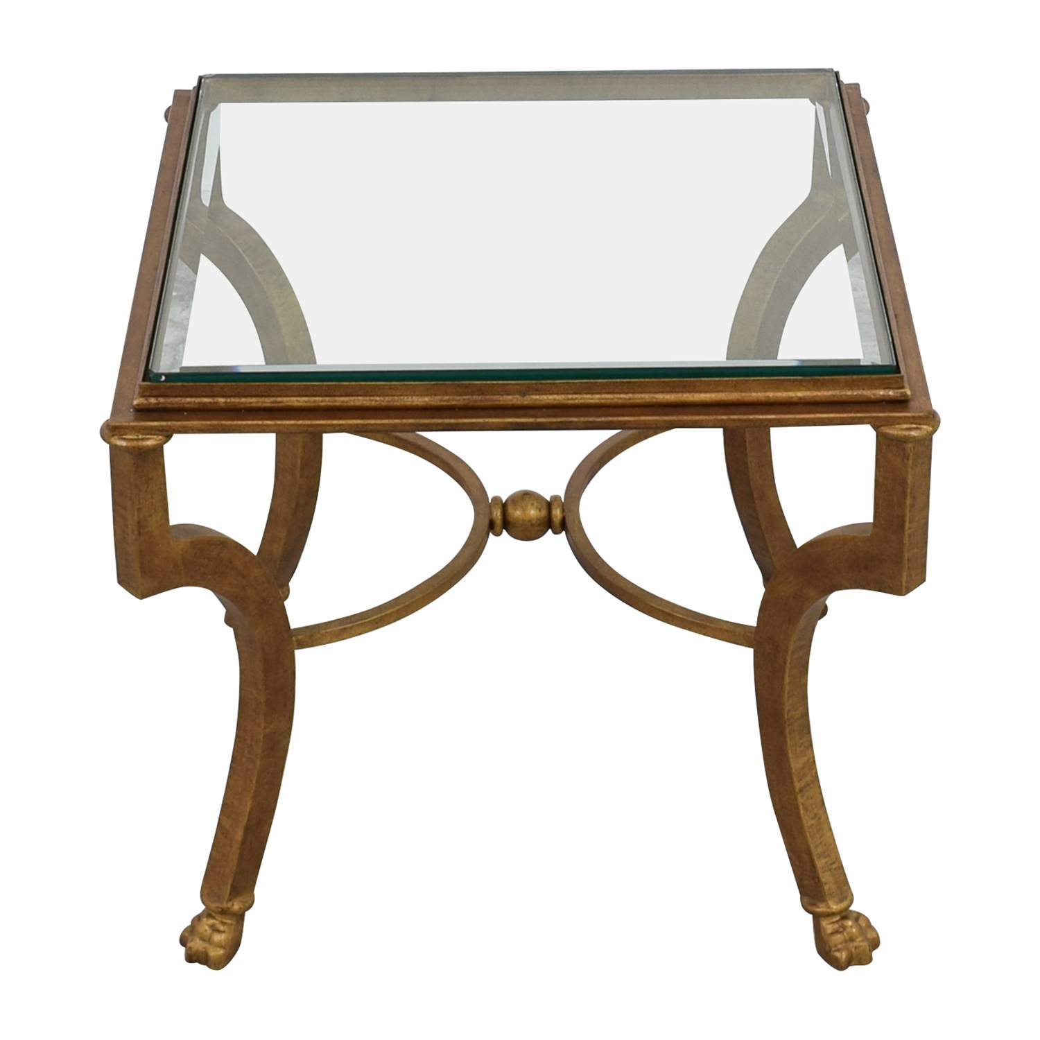buy Square Antique Gold Side Table with Glass Top Tables