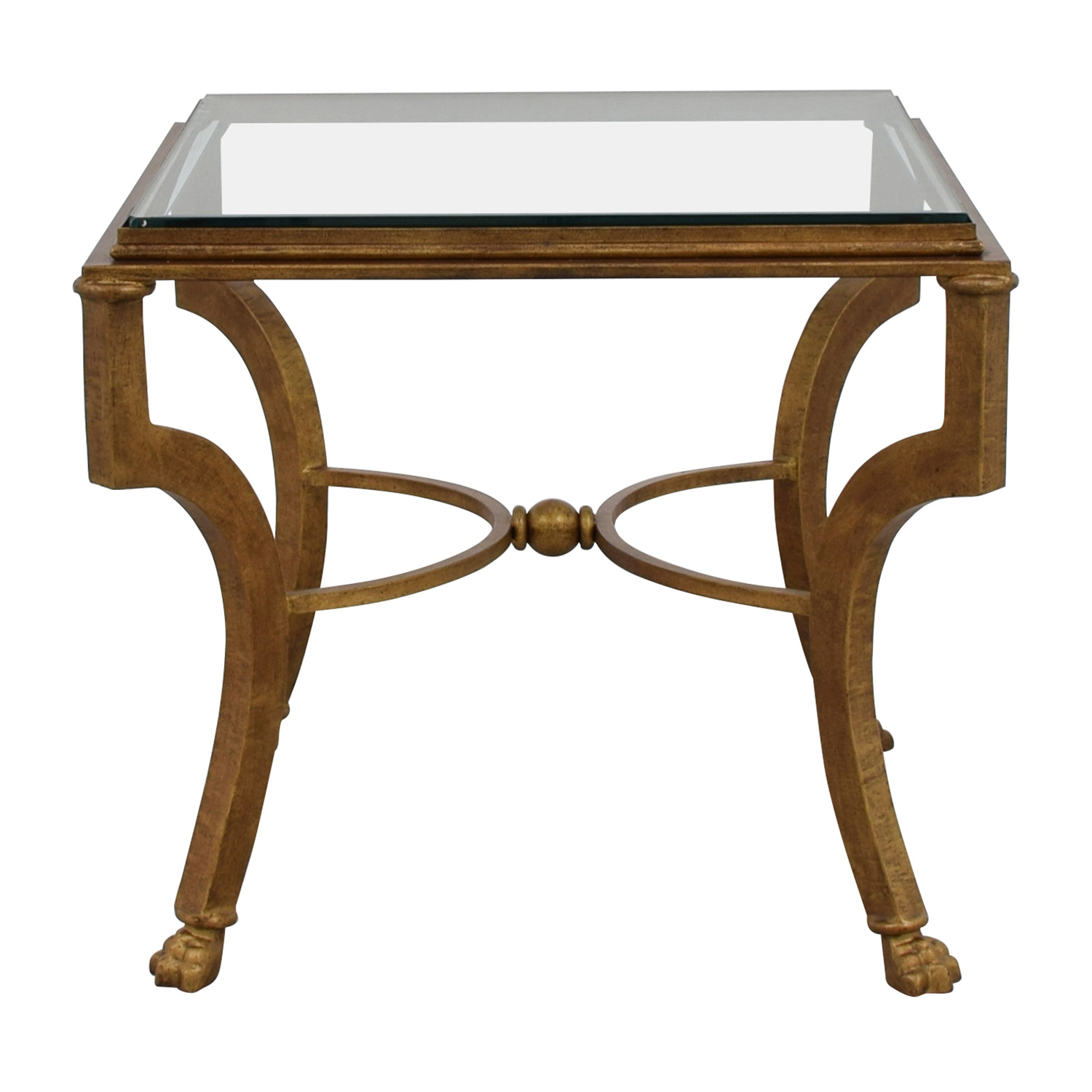 buy Square Antique Gold Side Table with Glass Top End Tables