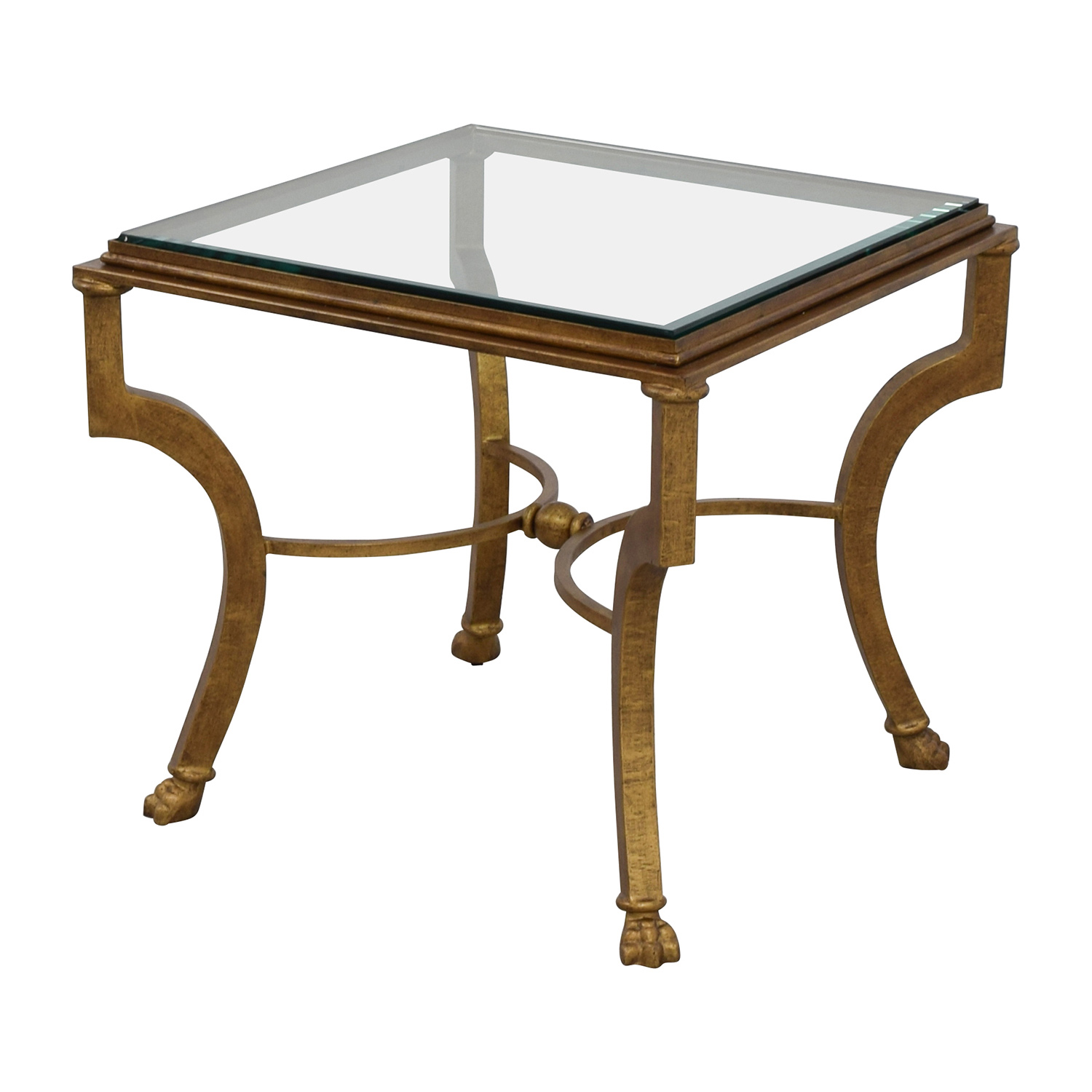 Square Antique Gold Side Table with Glass Top on sale