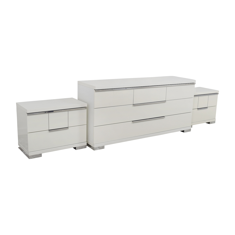 ALF Uno S.P.A ALF Uno SPA Three-Piece Modern Italian White Dresser Set Storage
