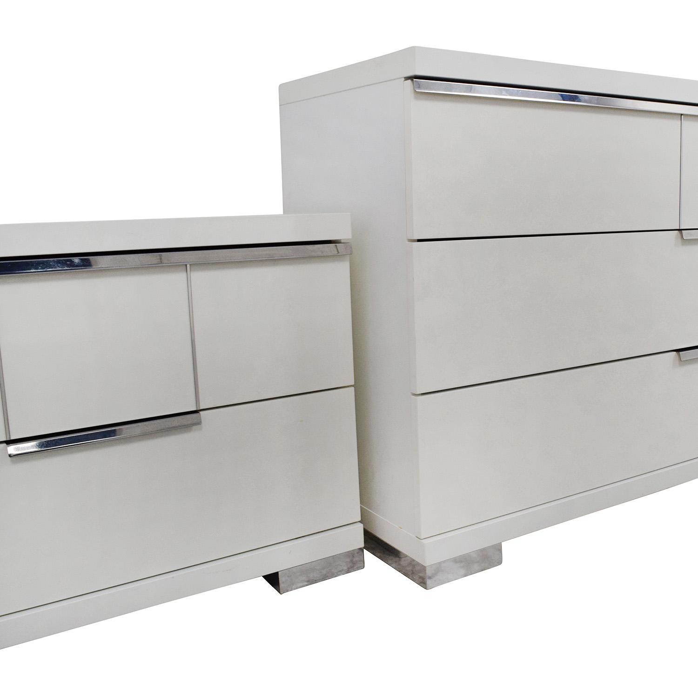 ALF Uno SPA Three-Piece Modern Italian White Dresser Set / Dressers