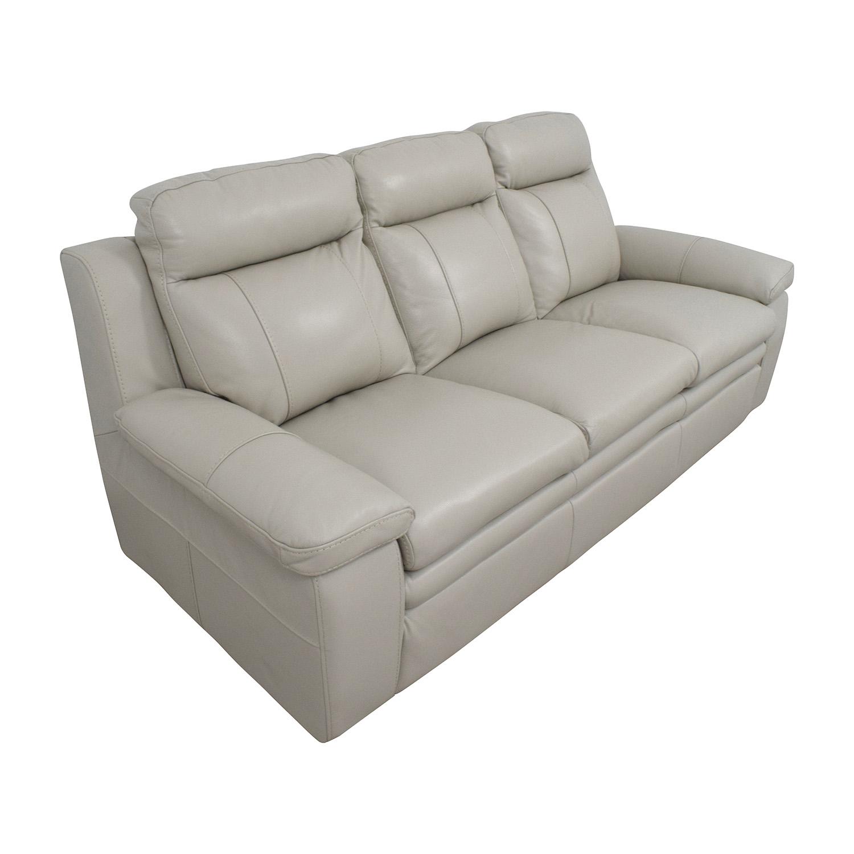 Macy's Macy's Zane White Leather Sofa / Sofas