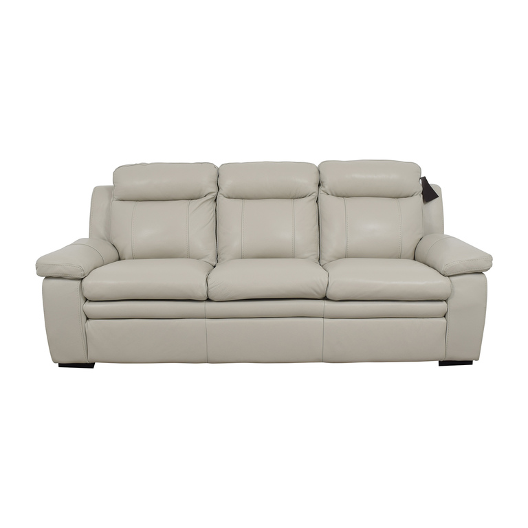 Macy's Macy's Zane White Leather Sofa dimensions